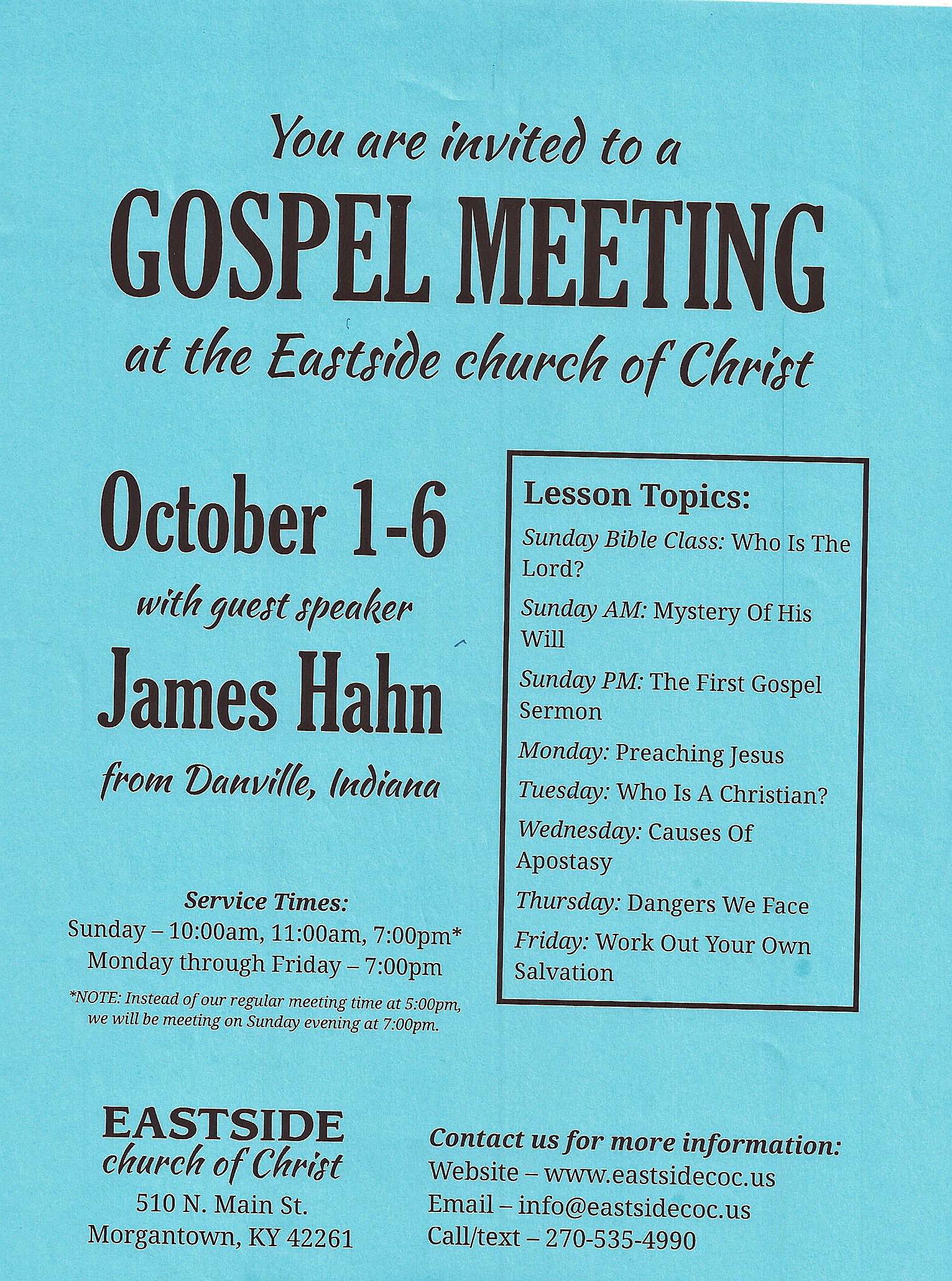 Eastside church of Christ Gospel Mtg | Beech Tree News Network
