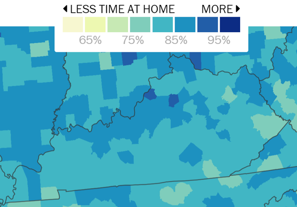SafeGraph data for the week ended April 30 show relative mobility. For county data, click here.