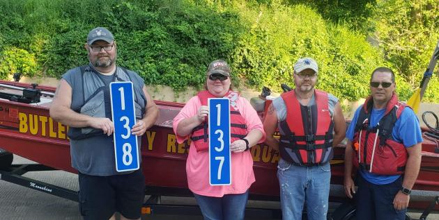 Rescue Squad members installed mile markers on Green River.  (Source:  Morgantown Trail Town Facebook Page)