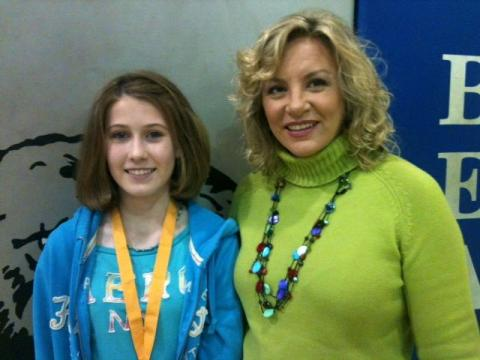 Geo Bee Winner Annabelle Cooper and Mrs. Becky Mudd