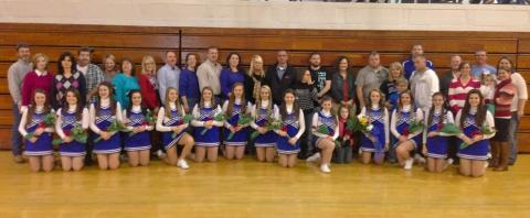 BCMS 8th grade cheerleaders and parents