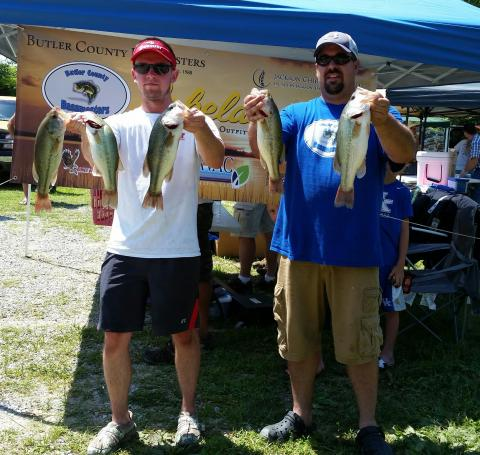 Nathan Neighbors and Daniel Cardwell took home the $1000 first place prize with five fish weighing 9.36 lbs.