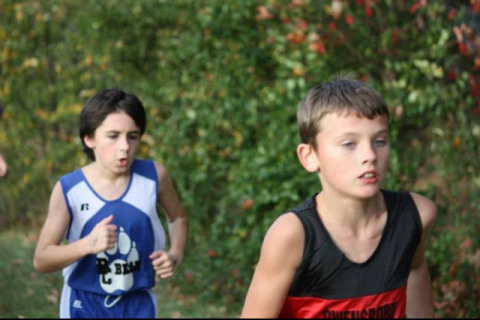 5th grader Trenton Stovall in the elementary 3k race