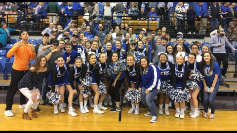 An excited Butler County student section following the Bears' 51-48 overtime win over Hancock County.