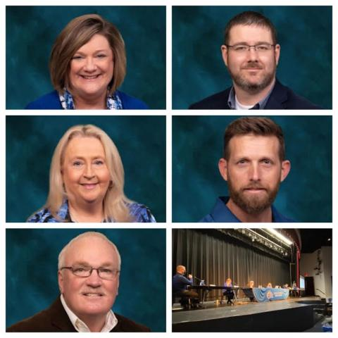Members of the Butler County Board of Education (top, left to right):  Dr. Amy Hood Waddle (Chairperson, Third District), Ryan Daugherty (Fifth District), Debbie Hammers (Second District), Rich Ellis (First District), and Delbert Johnson (Vice-Chairperson, Fourth District)