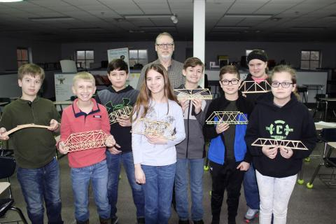 2019 Bridge Builing Team:  Dastin Scott, Cayden Southerland, Jayden Jenkins, Ryleigh White, Brennon Bartley, Preston Clark, Savannah Coin, Larkin O'Connel, Coach Dennis McCrocklin (not pictured Jeffrey Parrish)