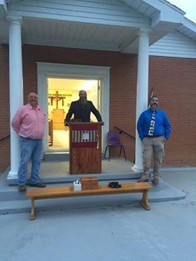 Pastor Tony Embry (center) along with Deacons Randy Sublett and James Shepherd