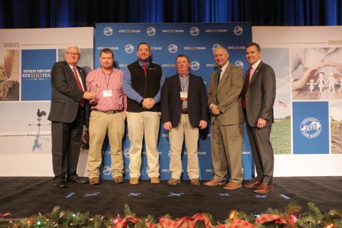Butler County Farm Bureau receives 2018 Young Farmer Gold Star Award of Excellence.  Pictured from left: Kentucky Farm Bureau President Mark Haney, Butler County Young Farmer Co-Chairs Joe Kirby and Caleb Smithson, County President Shane Wells, Kentucky Farm Bureau Federation Executive Vice President Drew Graham and Executive Vice President and CEO of Kentucky Farm Bureau Insurance John Sparrow.  The award was presented during a November 30 recognition program at the 99th Kentucky Farm Bureau annual meeting