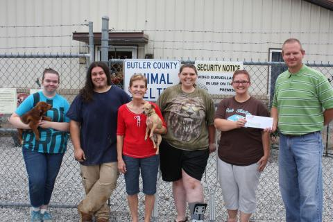 Chaylee Melton, Volunteer; Daniel Guerrero, Tara Brown, Susan Meridith, Jessica Powell and Chad Tyree, Butler County Cattlemen's member, Chad Tyree, presents the Butler County Animal Shelter with $600 from the 2016 Kentucky Cattlemen's Foundation Animal Shelter Assistance Grant.
