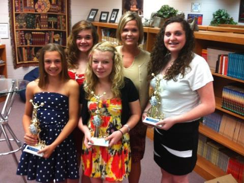 8th grade cheerleaders with coach Amy Smith-Thomas