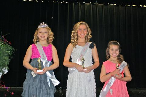 Girls 8 to 12 years:  1st place - Taylor Burden (parents Chris and Tracy Burden); 2nd place - Conley Gracelyn Moore (parents Greg and Chasity Moore); 3rd place - Trinity Rayne Martin (parents Willie Martin and Holly Pedigo)