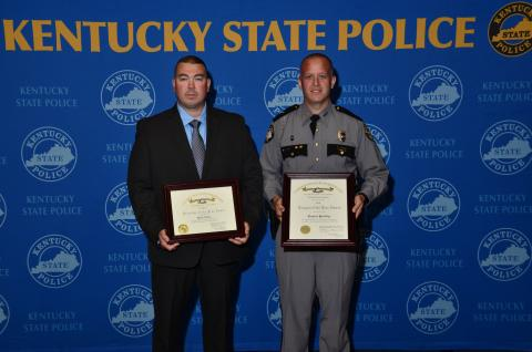 Detective Josh Amos and Senior Trooper Daniel Priddy, statewide Trooper of the Year