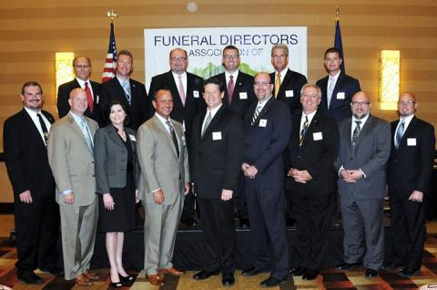 "(l to r) front row – Wesley Rominger from Manchester; Chad Townsend from Dixon; Brandy Harwood from Tompkinsville; Robbie Brantley from Brownsville; David West from Nicholasville;  John Jones from Harlan; Rob Riley from Carrollton;  Rusty Preston from Paintsville; and Doug Stanley from Williamstown  back row – George Sparks from Grayson; John Hill from Owensboro; Bill Mullins from Covington; Grant Bolt from Georgetown; Shannon Combs from Richmond; and Gerald M. ""Marty"" Jones II from Morgantown"