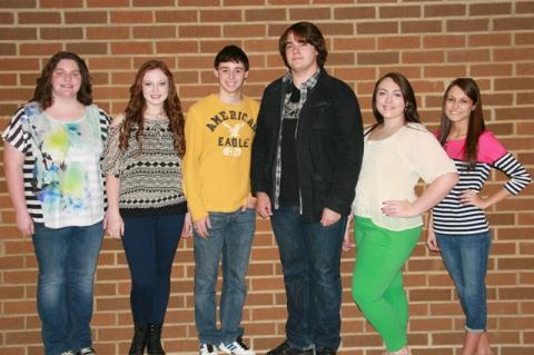 Brittney Gruber, Emily Rich, Matthew Embry, Sean Whittinghill, Allison Kurfiss, and Haley Adkins.