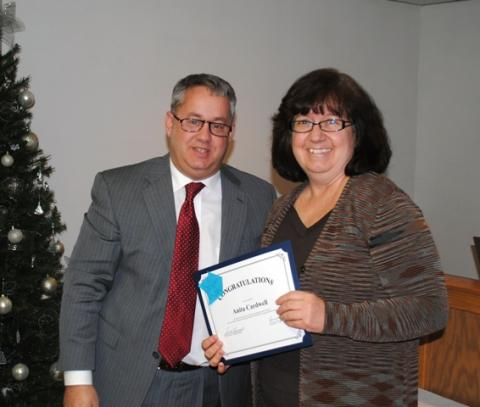 Anita Cardwell was recognized for becoming a National Board Certified Teacher.