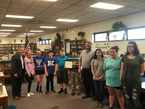The Butler County Middle School 7th and 8th Grade Band was recognized for receiving a Distinguished Rating at concert festival.
