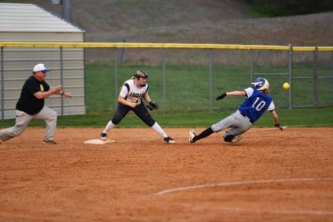 Bayleigh Alford is safe at third.  photo by Jerry Hinton