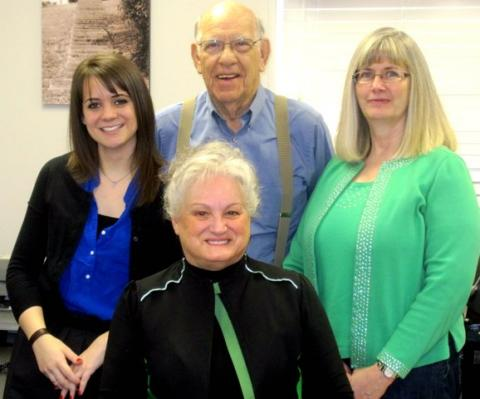 Left to Right:  Tristan Evans, Jim Cartwright, Suzanne Brosnan,Center: Angie Pendley, PVA.