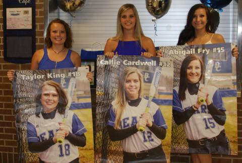 Seniors Taylor King, Callie Cardwell and Abigail Fry