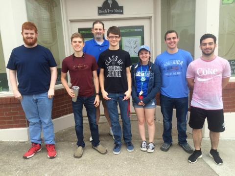 From left; Jeremy Womack, Nolan Johnson, Joe K. Morris, Riley Slaughter, Naomi Cade, Isaiah Arnold, and Ian Embry.