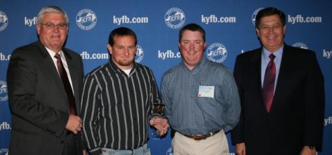 Ryan Pendley, Young Farmer Chair for Butler County Farm Bureau (center left),