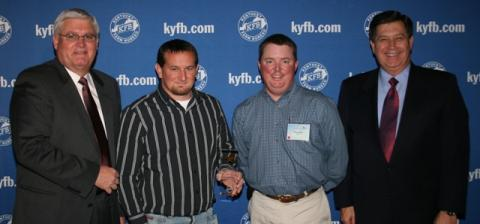 Ryan Pendley, Young Farmer Chair for Butler County Farm Bureau (center left),