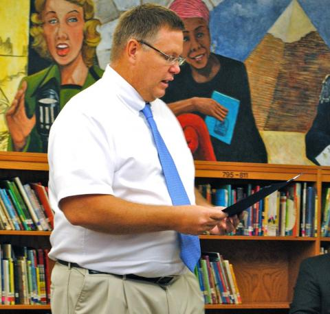 BCMS Principal Jeff Jennings at a school board meeting earlier this year.  Jennings will be the new principal at North Butler. (BtN File Photo)