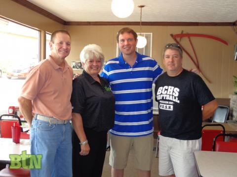 Farm Boy owner Darryl Deweese, Diane Dyer and John Embry of Beech Tree News meet with Matt Jones after the show