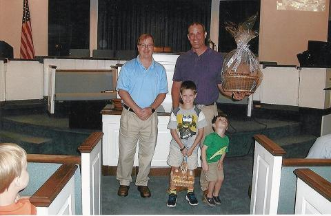 Bro. Greg Wallace, Pastor Morgantown First Baptist, Kent Moore, Samuel Kent and Foster Moore.