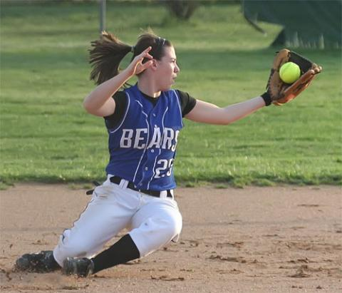 Shortstop Madeline Drake makes the falling catch