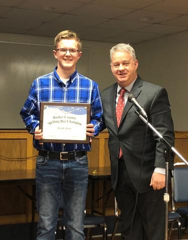 District Spelling Bee Winner Brady Jones and Butler County Schools' Superintendent Scott Howard