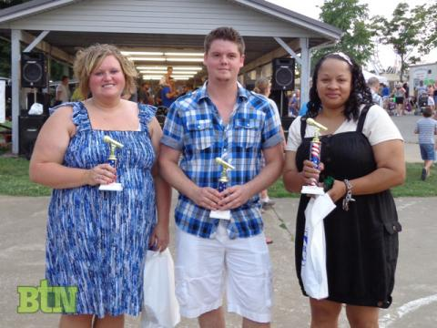 3rd Place Sonya King, 2nd Place Dustin Collins, and Winner Brenda Maxie