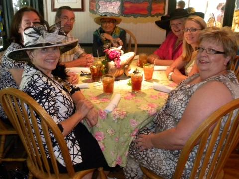 Linda J. Hawkins, owner of Heart to Heart Publishing, Inc, Dr. Deb & Roger Givens, Joyce Porter-Hammers, New Author, Betty Manning of Commiskey, IN, Designer, April Yingling and Donna Petty, enjoying lunch as they celebrate the new book by Mrs. Manning.
