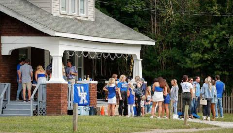 Students partied on University Avenue in Lexington Saturday. (Herald-Leader photo by Alex Slitz)