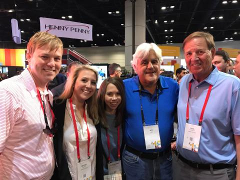 L-R is Michael Burrell, Kelsey Hamlet, Alexandria Burrell, Jay Leno and Paul Burrell.