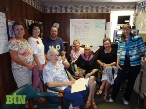 Members of the Writers Group with Kathy Thomason