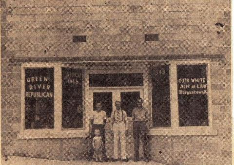 The building was built in 1948 by Judge Otis White and housed the Green River Republican and White's Attorney office.  Pictured is Onva White and son Hal, Judge Otis White and James D. Phelps.