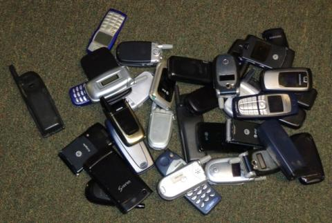 The cell phones collected during the drive