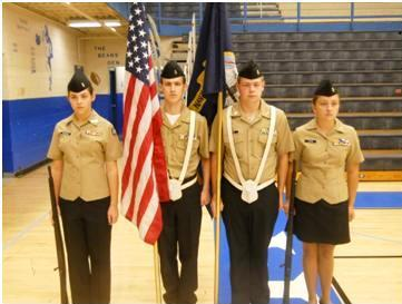 Color Guard (left to right) Courtney Childress, Ryan Hamilton, Austin West, and Hannah Logan
