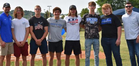 Track Seniors with Coach Fuller and Coach Lindsey