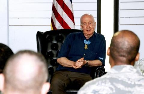 Jenkins spoke with the Top Three organization as part of a visit to Joint Region Marianas. (U.S. Air Force photo by Airman 1st Class Mariah Haddenham/Released)
