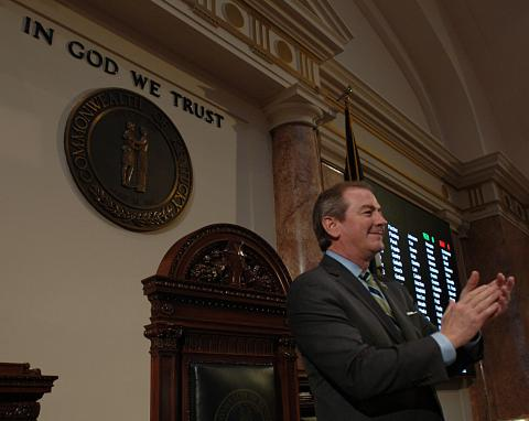 House Speaker Pro Tem David Osborne joined the applause shortly after he brought down the gavel to adjourn the House for the final time in the General Assembly's 2018 Regular Session.