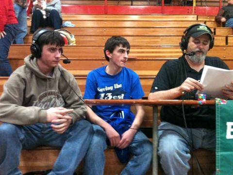 Zach Burden and Alex Hudnall were WLBQ co-players of the game; they are awaiting a post-game interview with Smokin' Joe Morris.