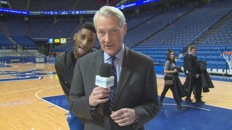 Rob Bromley has always been a fan favorite, but UK players feel the same way as shown by Marcus Lee having a little fun with a photobomb during Bromley postgame report. (Steve Moss Photo)