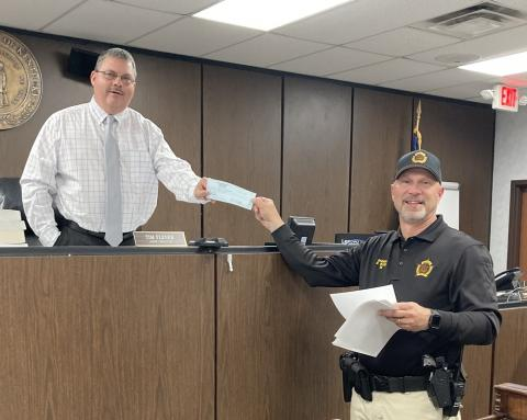 Butler County Sheriff Scottie Ward presented a $62,438.94 check of his excess funds to the court.