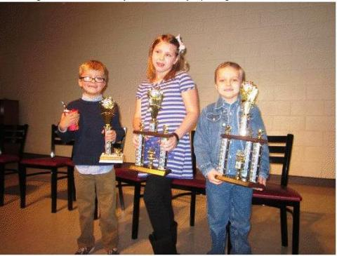 Keagen Grubb 3rd Place,  2nd Place- Taylin Clark, and First Place- Ethan Clark.