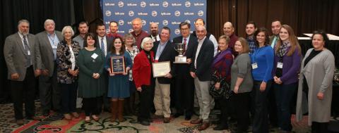 "Leaders of Butler County Farm Bureau accept the ""Top County"" award from David S. Beck, KFB Executive Vice President, and John Sparrow, KFB Insurance Companies Chief Executive Officer."