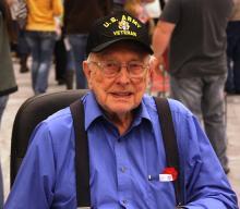 World War II veteran R. V. Gibbs enjoing the Verterans' Program.
