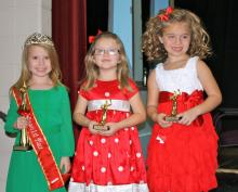 Girls (5-7 years):  1st place - Jenna Brooke Tomes, age 5, parents Brandon and Deana Jo Tomes;  2nd place - Mollee Gail Neighbors, age 7, parents Eddie and Emilee Neighbors;  3rd place - Parker Reese Willoughby, age 6, parents Travis and Ashley Willoughby
