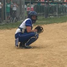 Hannah Chaney behind the plate for Butler County Softball.